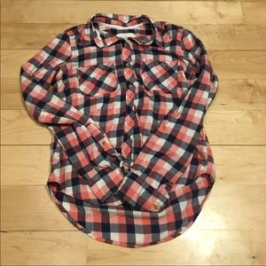 pink blue abercrombie & fitch button down flannel